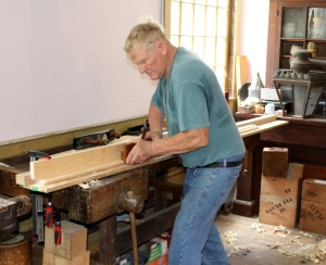 Don making a profile on the edge of his frame stock.
