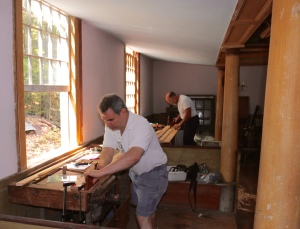 Brian and Tom working with the molding planes.
