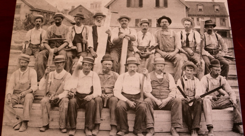 Canvas print of a group of carpenters and joiners.