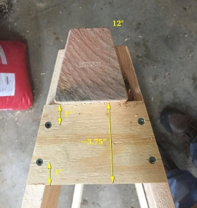 Beam and gusset with dimensions. I also used my namespace on the beam end grain.