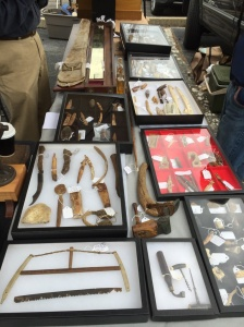 More of the Vendor with an extensive collection of tools make from bones and ivory.