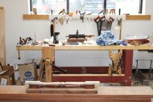 Megan's workbench in the corner of the workshop