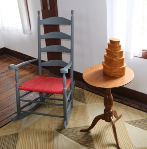 Shaker rocker, candle stand and boxes