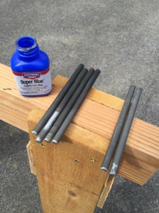 Using Gun Blue to give the the rods a black patina.