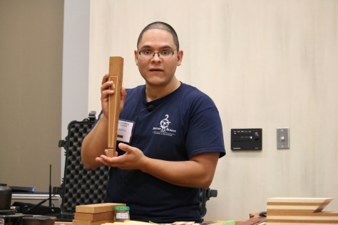 Freddy Roman giving a talk on sand shading and inlay.