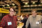 Brendan Bernhardt Gaffney and George walker looking at Brendan's new sector prototype.