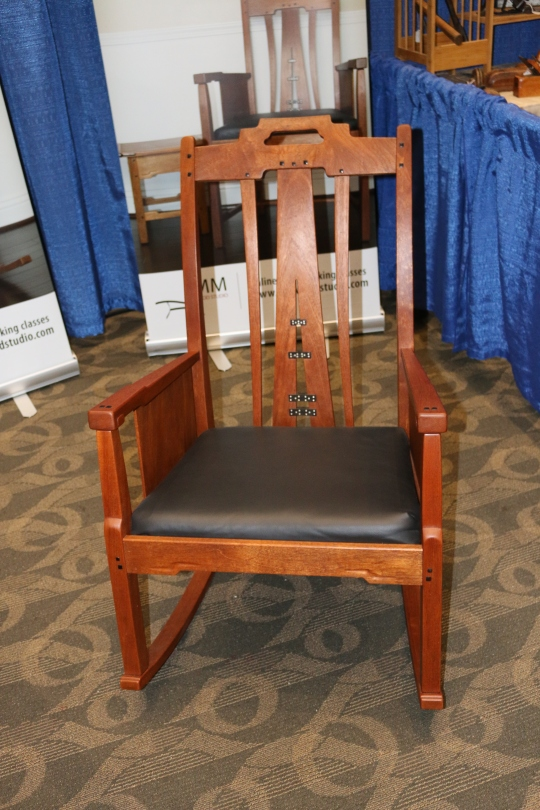 A nice rocking chair by ne of the exhibitors. Wish I could recall his name, but he was offering online courses, one of which was on making this chair.
