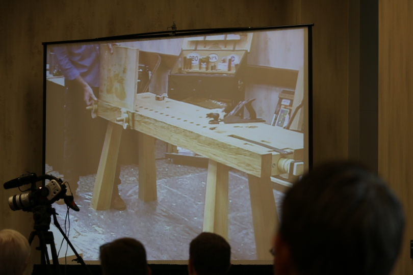 Taller Roman Workbench with Chris hand rasped nuts.