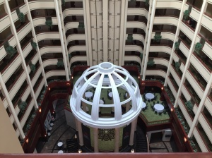 Inside of the hotel lobby. A very big open space
