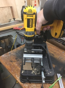 "Use a self centering doweling jig to start the 3/8"" holes"