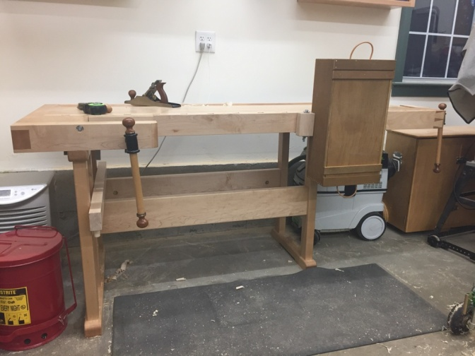 Side clamps in use on the completed bench