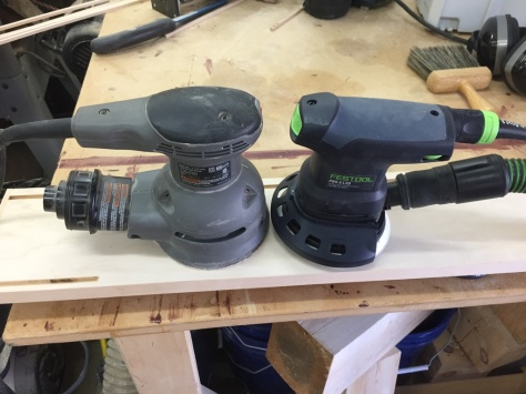 Left Porter Cable Random Orbit Saner, Right Festool Pro5 LTD Sander.