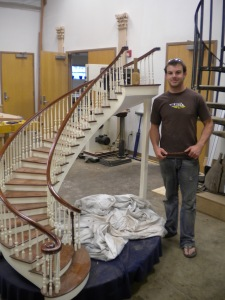 Brad with his curved staircase model